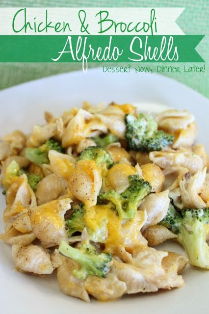 Chicken & Broccoli Alfredo Shells- 2-1/2 c. medium shells, 2-1/2 c. fresh broccoli (cut into small florets)- mostly cooked, 2 c. cooked diced chicken, 16 oz. jar alfredo, 1-1/2 c. cheddar or mozzarella, 1/2 t. salt, 1/4 t. pepper, 1/2 t. garlic powder.--- Cook shells, add alfredo sauce and spices. Add broccoli and chicken. Place into 13x9 dish and top w/ cheese. Bake at 350 for 20-30 min.