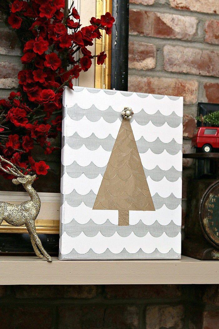 Silver and Gold Metallic Christmas Tree Wall Art \u0027Tis the Season