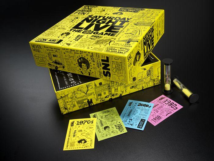 SNL GameSaturday Night Live, Package Design, Packaging Design, Boards Games, Gamesboard Games, The Games, Book Design, Book Packaging, Saturday Night Living