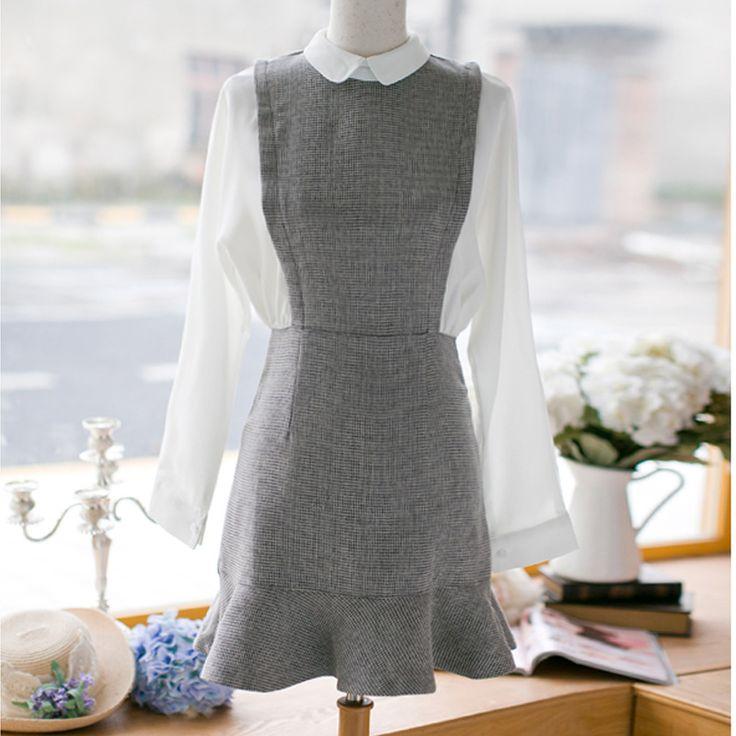 Осень женщин новые длинными рукавами плед кукла воротник повседневная мода рыбий хвост пакет хип Тонкий платье для девочек купить на AliExpress