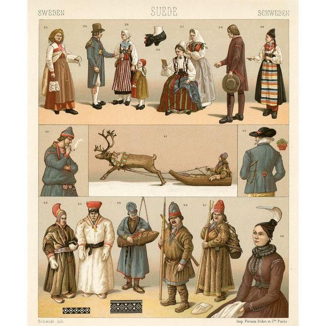 "Swedish Fashion Print, 1888 -- seller says: ""Original chromolithograph showing Swedish fashions and customs. From an 1880s work by the 19th-century French fashion historian Henri Racinet."""