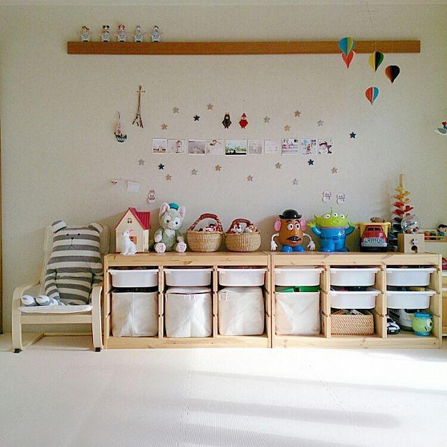 女性で、3LDK、家族住まいの子供部屋/トロファスト/イケア/無印良品/部屋全体についてのインテリア実例を紹介。(この写真は 2015-11-30 12:54:06 に共有されました)
