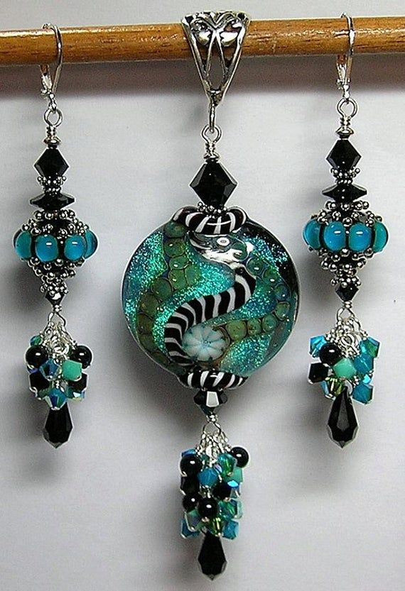 jewelry set wire wrapped pendant Teal Beaded wire wrapped earrings teal beaded jewelry wire wrapped teal beaded wire wrapped necklace