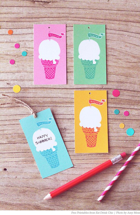 By Eat drink & chic: Summer Parties, Summer Gifts, Parties Ideas, Summer Ice Cream, Cream Tags, Gifts Tags, Free Printable, Icecream, Ice Cream Cones