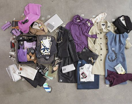 The strategy for a carry-on-only trip also includes a tote bag with a zipper. It absorbs all my personal items for the flight, from iPod to paperbacks to pashmina. I take a couple of envelope purses (one is tucked in my suitcase; the other is in my tote), which take up minimal space and serve for dressier occasions. The other key rules are a simple color palette -- neutrals, few prints -- and clothes that do dual duty.    What to Bring  IN YOUR CARRY-ON    · 3 pairs of pants (two for…