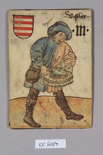 Spielkarte, Ungarn, Fischer (Drei), aus dem sog. Hofämterspiel Wien (?)  um 1455  Spielkarte  Papier, Holzschnitt, Wasserfarben, Gold- und Silberauflagen, Federzeichnung  H. 13,9 cm, B. 9,9 cm