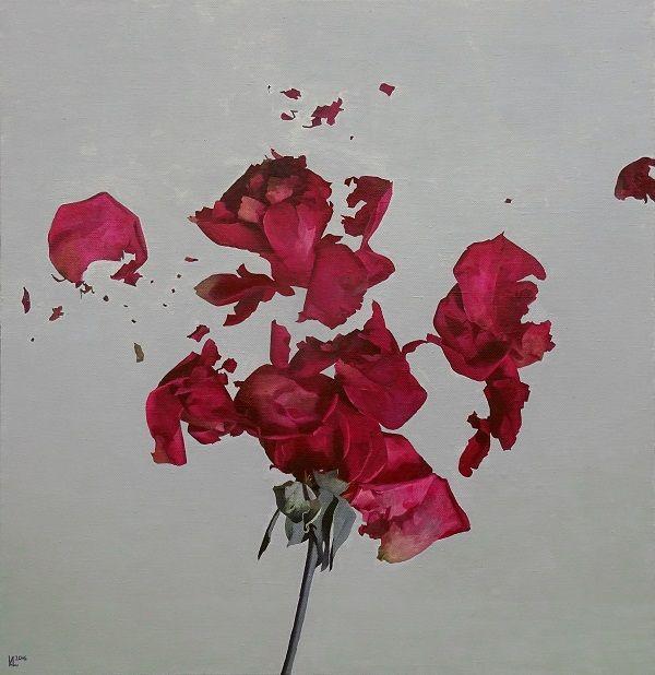 """Работа Колистратова Дмитрия """"Без названия"""" не оставляет равнодушным! Красная роза, разбитое сердце, страсть... Есть в этом что-то безумно притягательное!  А какое название дали бы этой картине вы?  Работа большого размера - 105х110см. Прекрасный акцент для интерьера в стиле современная классика, ар-деко или минимализм. ____________________________________________ Эту картину можно купить, а можно бесплатно примерить в вашем интерьере или взять в аренду. Перейдите по ссылке на сайт и выберете…"""