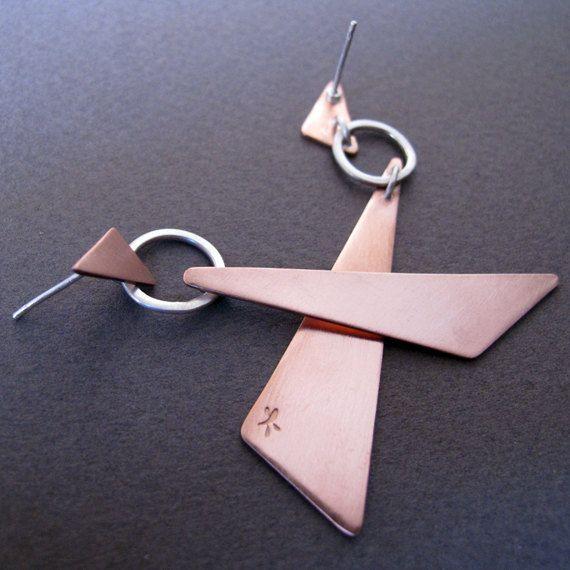 Geometric Copper Earrings Triangle Earrings Mixed by Jewellietta