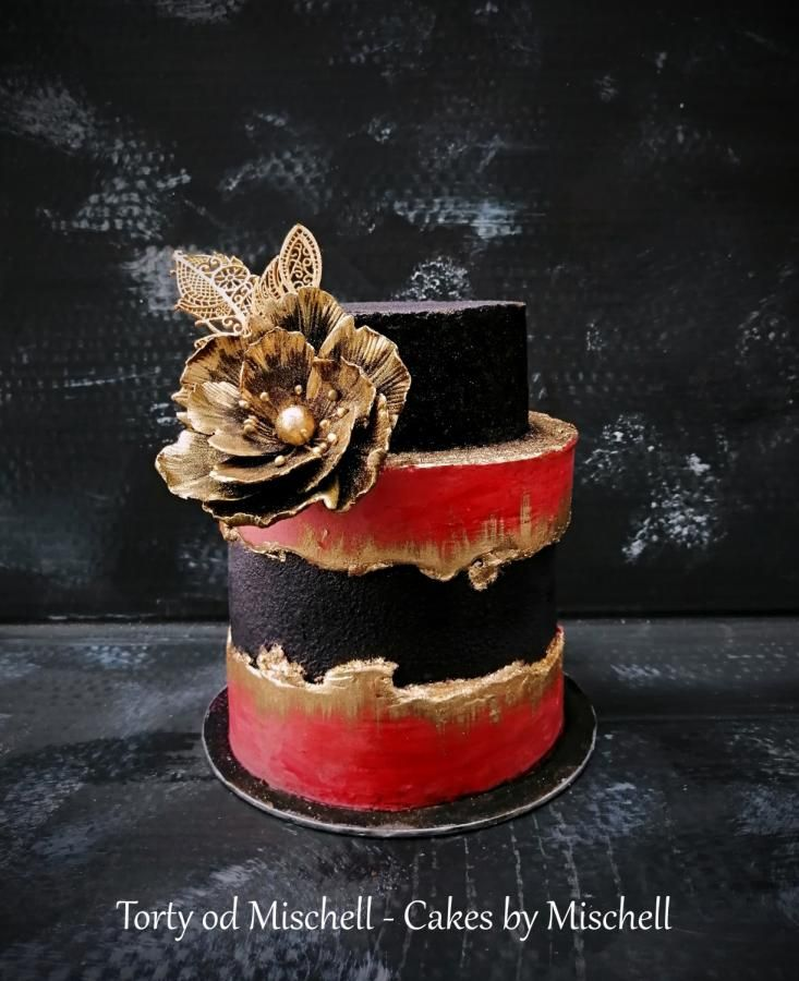 Black Red Gold Cake By Mischell Red Birthday Cakes Black