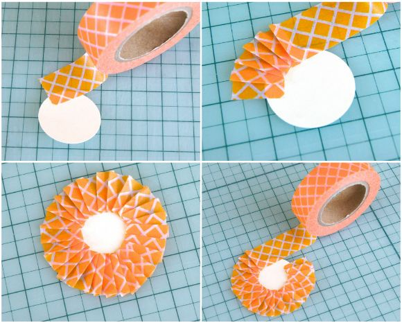 How to pleat washi tape around a circle