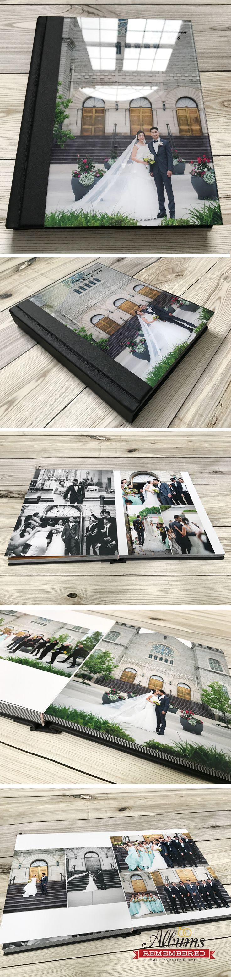 Acrylic cover wedding photo album with free design service and unlimited revisions. Visit us at www.albumsremembered.com for all the promos.