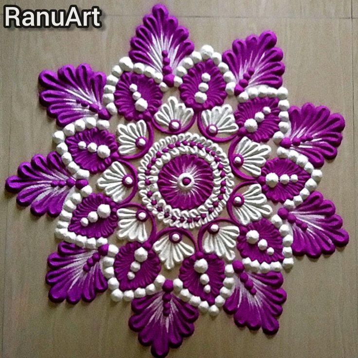 Rangoli usign 2 colors in 2020 Free hand rangoli design