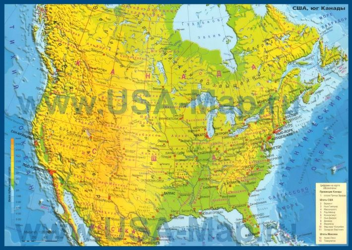 Физическая карта США