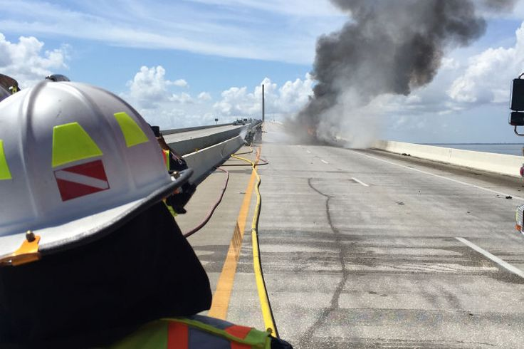 Tanker Fire on Sunshine Skyway Bridge http://cars.tampabay.com/news/publicsafety/accidents/all-lanes-on-sunshine-skyway-bridge-closed-after-tanker-catches-fire/2285056