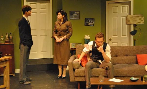 """Bygone Theatre's production of Frederick Knott's """"Dial M For Murder"""", Robert Gill Theatre, August 2013.  Reg Matson, Rebekah Manella and Kenton Blythe, in mid 1950s attire."""