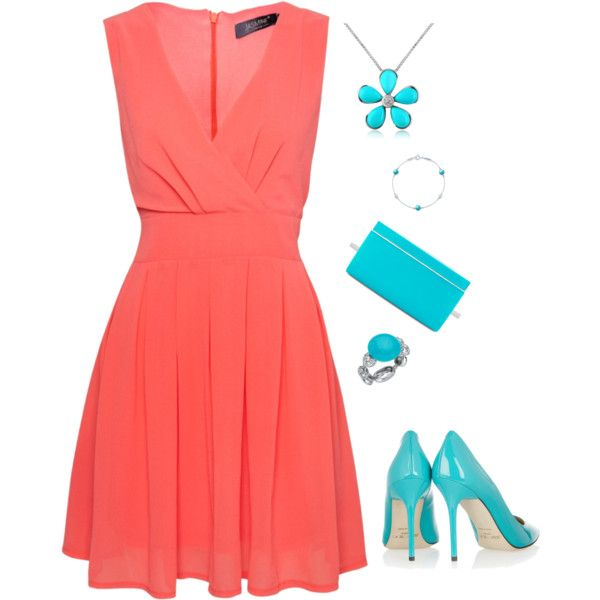 Coral with Turquoise Accessories by shemomjojo on Polyvore featuring Jasmine, Jimmy Choo, Del Gatto, Chantecler and Elsa Peretti