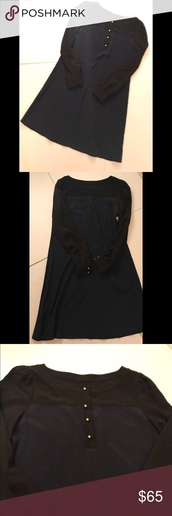 """Kate Spade ♠️ Long Sleeve Dress End of season sale! Beautiful dress in excellent condition. Black and navy dress with gold buttons. 👌Length 39"""" Bust 36"""" kate spade Dresses"""