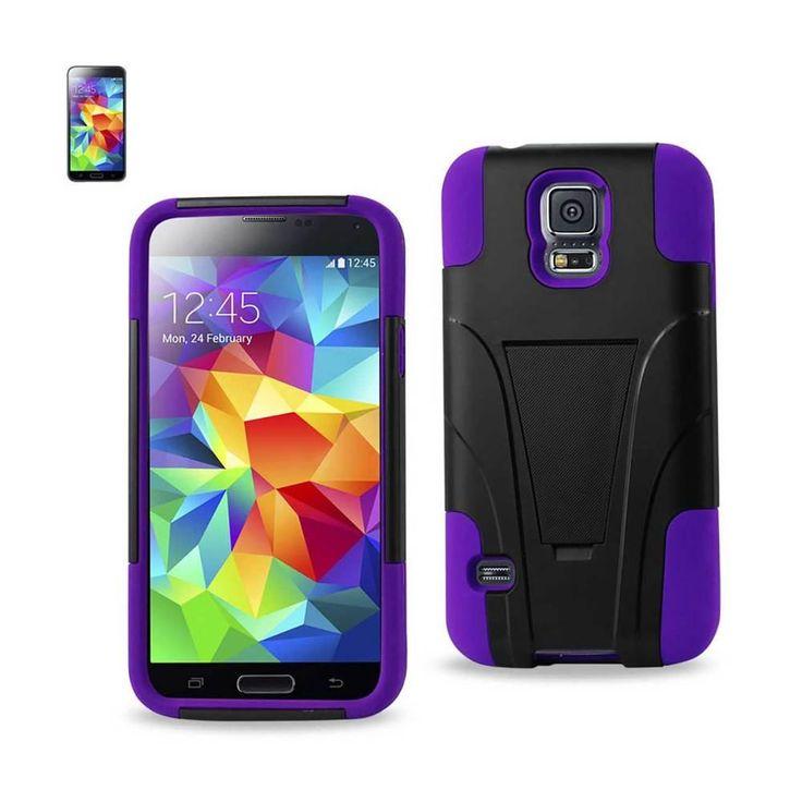 Reiko Silicon Case+Protector Cover Samsung Galaxy S5 Purple Black New Type Kickstand