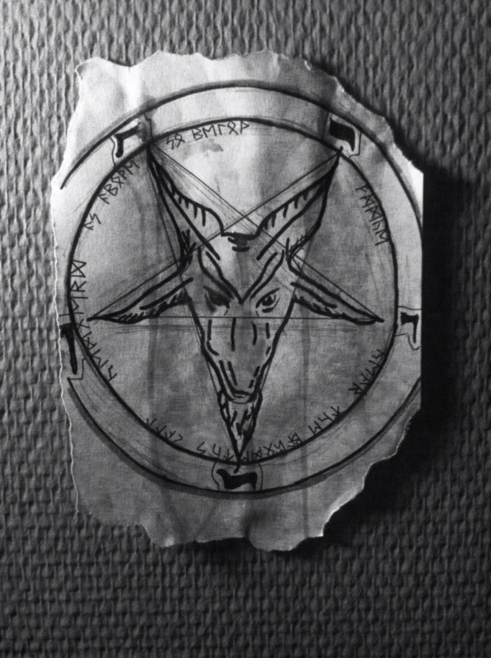 Baphometh drawing  Sketch for wall painting Pencil, black finepoint marker, water
