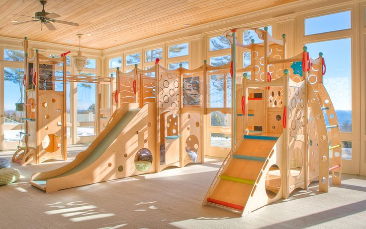 Indoor Playset 205 - Playdates and birthday parties have never been this easy! This CedarWorks indoor playset has it all. Enough climbing, swinging, sliding, and hiding features to tame even the wildest imagination.