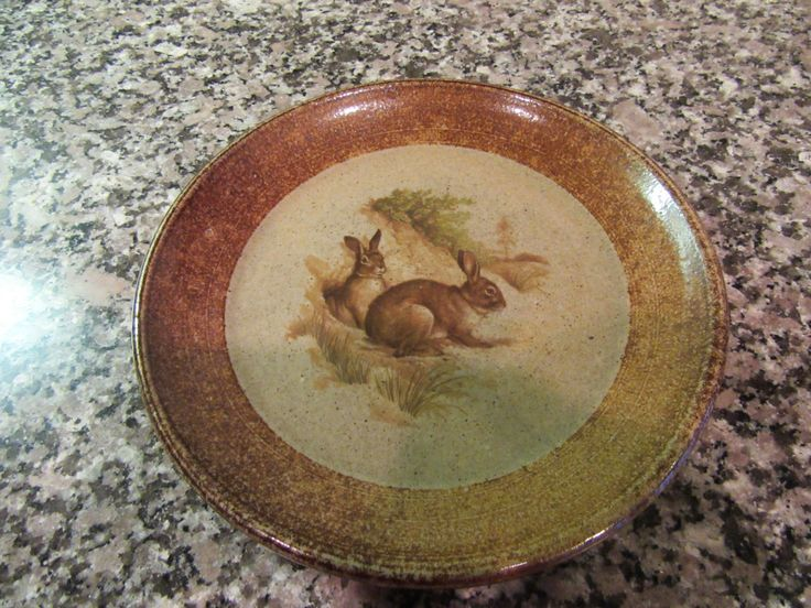 Sweet salt glazed pottery serving plate with rabbits design- Monroe Salt Works Maine- solid great condition & 195 best Monroe Salt Works Pottery images on Pinterest