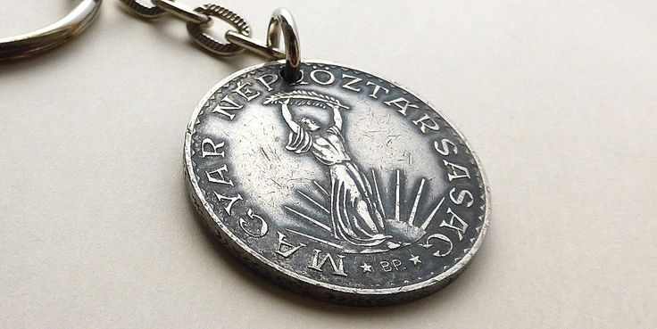 Keychain, Hungarian, Vintage keychain, Gift for him, Coins, Charms, Men's accessory, Upcycled keychain, Repurposed coin, Men's gifts, 1971 by CoinStories on Etsy