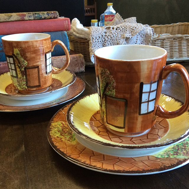 """$20 each Cottageware Trios, Price Bros. no damages, some crazing visible on white areas. Cup ht 8.5cm, Plate diam 17cm. Comment """"SOLD"""" to purchase. Price is + postage or collect from Toowoomba. #pricebros #cottageware #tablesetting #tablescape #diningroomtable #diningroom  #vintageforsale #vintagekitchen #vintagekitchendecor #vintagehome #vintagehomedecor #vintagelove  #oldwares #collectables #collectablesforsale #vintagedecor #vintagedecorating"""
