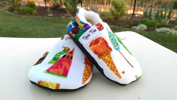 Caterpillar shoes are non slip and comfortable shoes that are perfect to use at home or on the playground! Handmade with cozy organic Sherpa, non-slip
