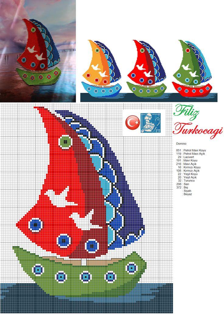 '' Takalar geçiyor allı yeşilli, takalar geçiyor dümenleri nazlı...'' Bütün renkler yan taraftadır. Hangisini isterseniz :)) Designed and stitched by Filiz Türkocağı...( Turkish evil eye )