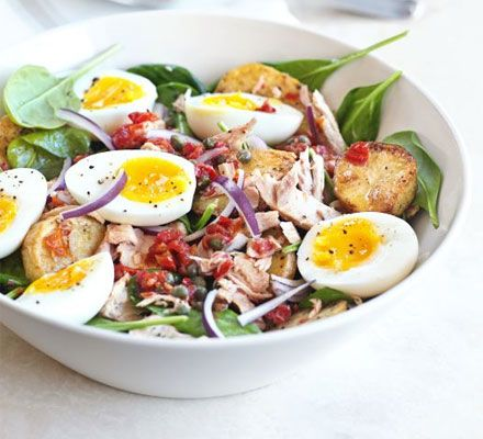 This colourful salad makes the most of storecupboard ingredients - vary it for a special occasion by using fresh tuna