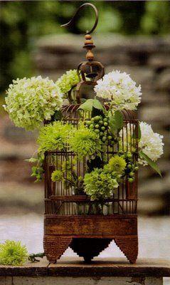 vintage bird cage converted into hydrangeas' home