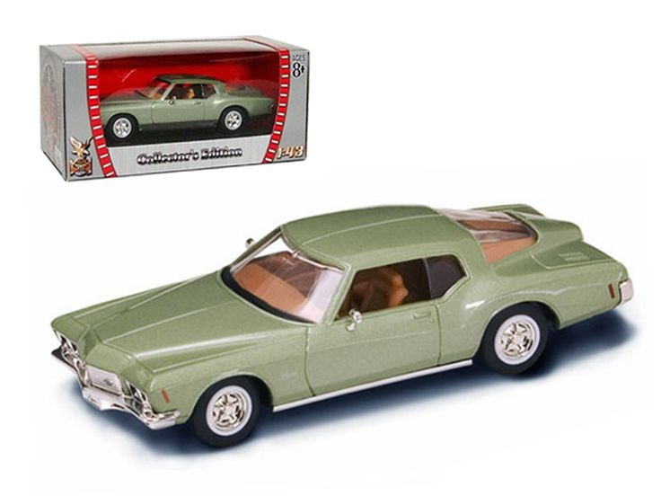 1971 Buick Riviera GS Green 1/43 Diecast Car Model by Road Signature - 1971 Buick Riviera GS Green 1/43 Diecast Car Model by Road Signature. Made of diecast with some plastic parts. Detailed interior, exterior. Has plastic display stand with window box. Dimensions approximately L-4 inches long. Please note that manufacturer may change packing box at anytime. Product will stay exactly the same.-Weight: 1. Height: 5. Width: 9. Box Weight: 1. Box Width: 9. Box Height: 5. Box Depth: 5