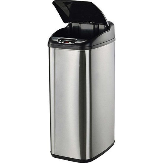 nine stars motion sensor slim touchless 132gallon trash can stainless steel