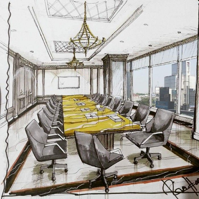 amazing architectural interior design sketch