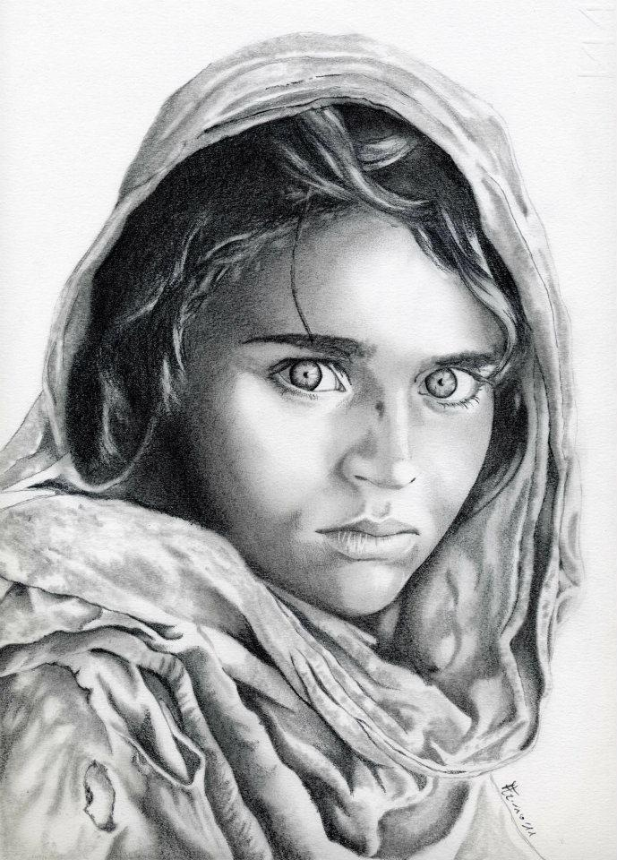 Pencil Drawing Of 'Afghan Girl' National Geographic Cover