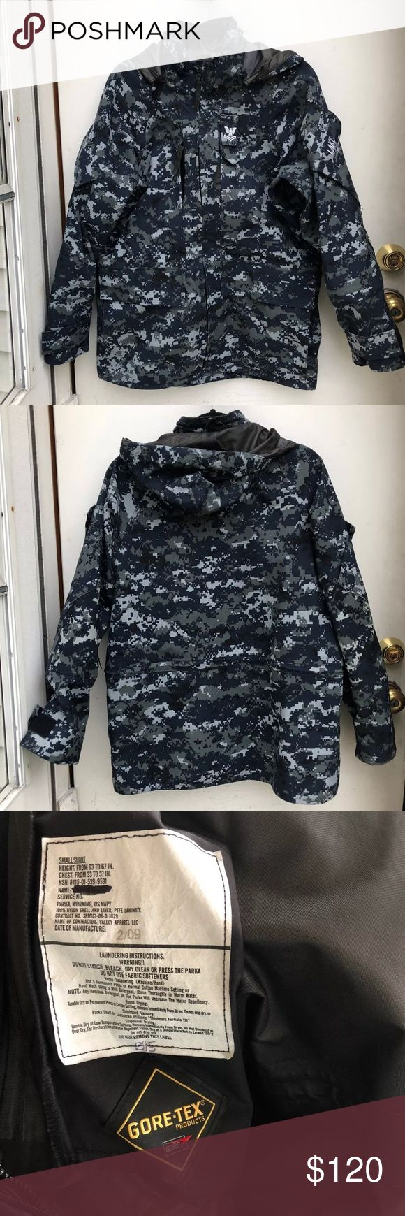 US Navy Gore-Tex Camo Rain Jacket Size Small Short - High: From 63 to 67 IN. Chest: From 33 to 37 IN. Like new conditions. My friend don't need anymore. He wants someone to enjoy it. USN Jackets & Coats Military & Field
