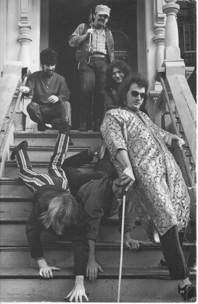 Grateful Dead on steps of 710 with Phil & Bobby crawling down the stairs.1967 Photographed by Linda McCartney