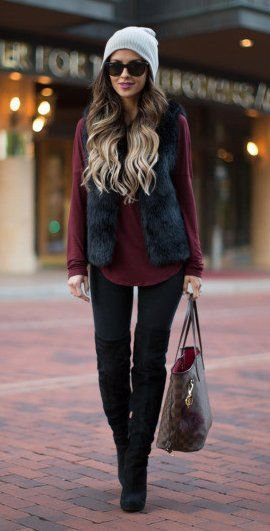 40 WINTER OUTFIT YOU MUST COPY RIGHT NOW!!! #winter #fashion /  White Beanie / Black Faux Fur Vest / Burgundy Shirt / Black OTK Boots #womenoutfits