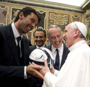 Pope Francis, the soccer fan: With admiration and big smiles all around, the pope met the star players and coaches of the Argentine and Italian national soccer teams