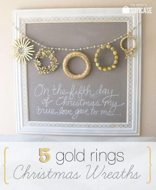 "#DIY #Christmas wreaths "" 5 golden rings"" by My Sister's Suitcase on iheartnaptime.net"