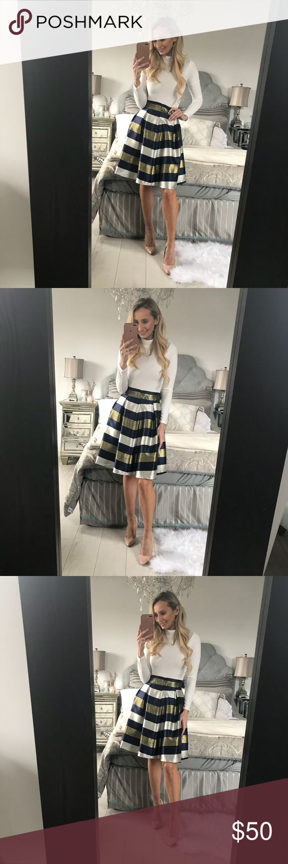 High Waist Pleated Striped Skirt High Waist Pleated Striped Skirt  Material: Cotton Size.   Waist.          Hip.             Length XS.     22-23.6.     29-31.4.      35.8 S.        23-24.8.     29-32.2.     37 M.       24-26.7.      31-34.2.     38.1 L.        25-27.5.      32-37.4.     38.5 XL.      25-28.3.     32-38.5.    40.1 Little Pearls of Life Skirts Midi