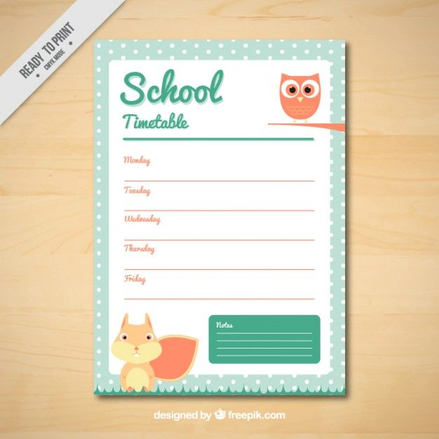 School timetable with owl and squirrel Free Vector