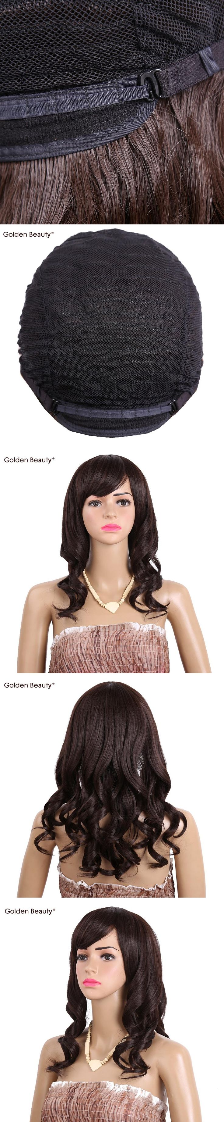 18inch Loose Weave Synthetic Wig for Halloween Party Heat Resistant Long Hair Wigs with Side Part Bangs Golden Beauty