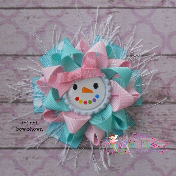 Glam Pastel Girly Snowman Loopy Flower Hair Bow