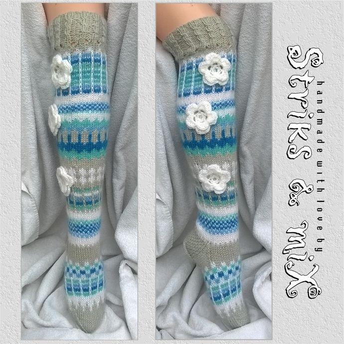 Hand Knit Flower Socks, Anelmaiset, Hippie socks, Woman Socks, Crochet Flower