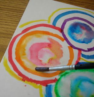 water + marker mixing colors