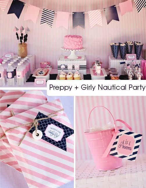nautical shower....thats a lot of pink...a little too much but i think this could be really cute if you took away a lot of the pink and just added pops of color with navy blue/black stripes!!!