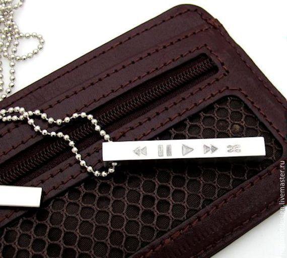 """Купить Ожерелье """"Меломан"""". Цепочка с четырёхсторонней подвеской. Подарок - серебряный, ожерелье, ожерелье с подвеской, колье"""