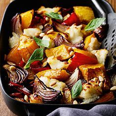 Roasted Vegetables with Halloumi Cheese. Tried it and loved it, great healthy vegetarian meal.