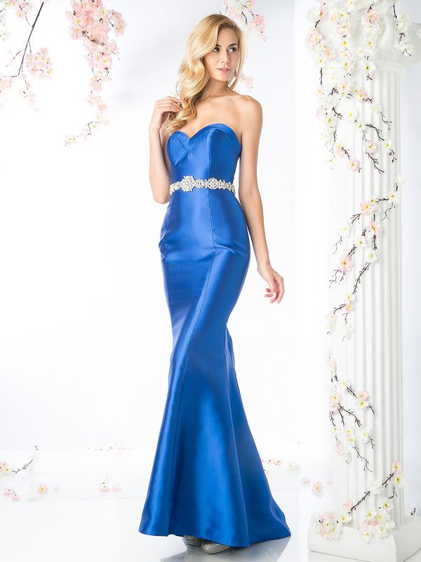 CJ205 Sweetheart Mermaid Gown with Dazzling Belt - Royal, Front View Medium